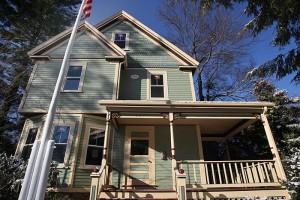 A house being restored on Warren Street. Barbara Jones is a Needham contractor who has started a business aimed at saving older homes from being torn down and replaced by McMansions. Little Pink Houses was able to save and resell one older house and is now working on a second.